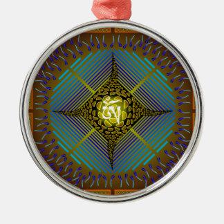Electric Blue Energy Bursts Mandala Design Gold Sq Round Metal Christmas Ornament