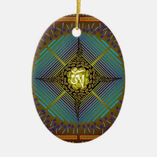 Electric Blue Energy Bursts Mandala Design Gold Sq Double-Sided Oval Ceramic Christmas Ornament