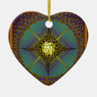 Electric Blue Energy Bursts Mandala Design Gold Sq Double-Sided Heart Ceramic Christmas Ornament