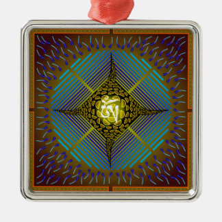 Electric Blue Energy Bursts Mandala Design Gold Sq Square Metal Christmas Ornament
