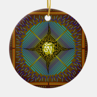 Electric Blue Energy Bursts Mandala Design Gold Sq Double-Sided Ceramic Round Christmas Ornament