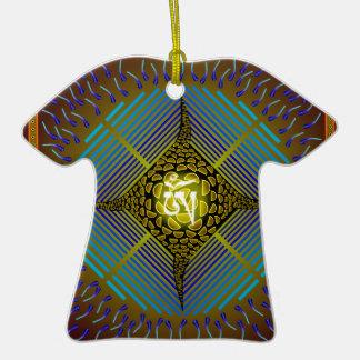 Electric Blue Energy Bursts Mandala Design Gold Sq Double-Sided T-Shirt Ceramic Christmas Ornament