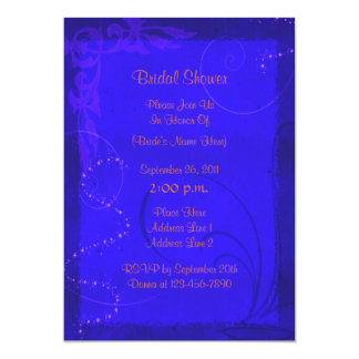 Electric Blue Floral Bridal Shower Invite
