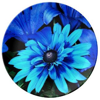 Electric Blue Flowers Porcelain Plate