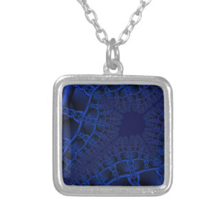Electric Blue fractal Silver Plated Necklace