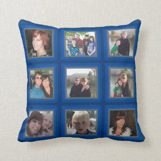 Electric Blue Frame Add Photos Instagram Collage Pillow