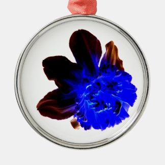 Electric Blue Glow Daffodil Metal Ornament