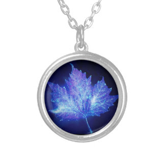 Electric Blue Glow Leaf Silver Plated Necklace