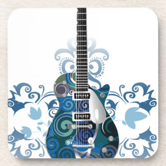 ELECTRIC BLUE GRUNGE SWIRL VECTORS GUITAR MUSIC IN DRINK COASTER