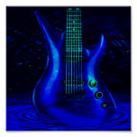 Electric Blue Guitar Poster