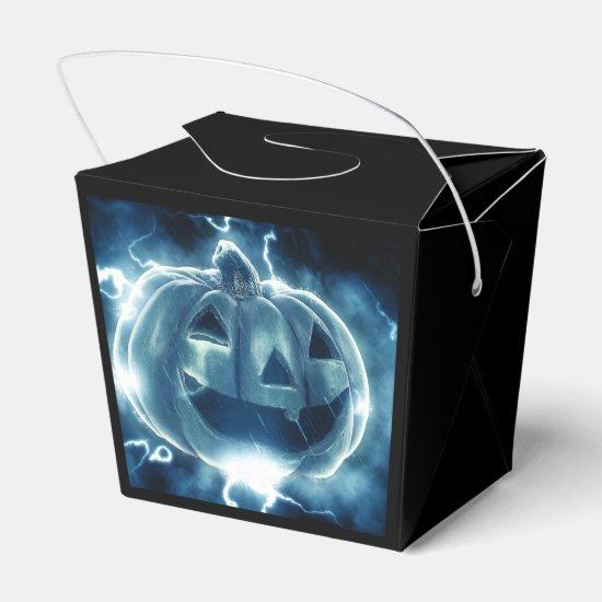 Electric Blue Happy Pumpkin Halloween Goodie Box