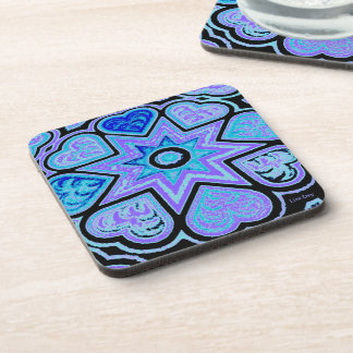 Electric Blue Hearts & Stars Coasters