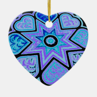 Electric Blue Hearts & Stars Ornament