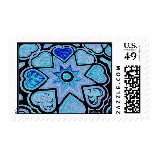 Electric Blue Hearts & Stars Postage