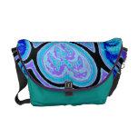 Electric Blue Hearts & Stars Rickshaw Messengr Bag Messenger Bag