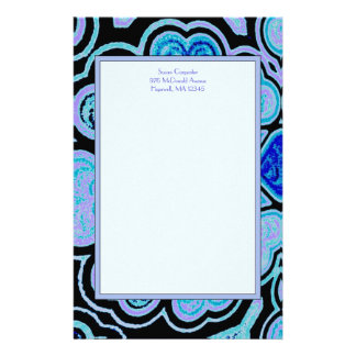 Electric Blue Hearts & Stars Stationery