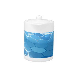 Electric Blue Honeycomb Hexagon Background Teapot