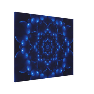 Electric Blue Kaleidoscope Mandala Wrapped Canvas Canvas Print