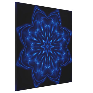Electric Blue Kaleidoscope Wrapped Canvas Canvas Print