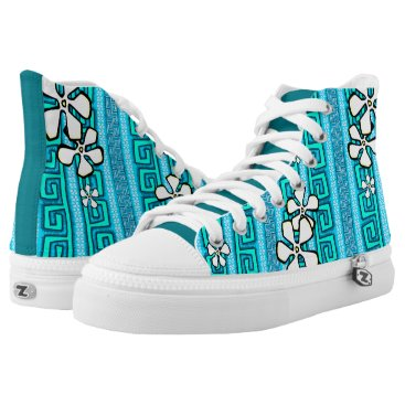 Beach Themed Electric Blue Lagoon High-Top Sneakers