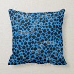Electric Blue Leopard Pattern Pillow
