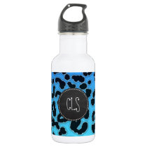 Electric Blue Leopard Print; Chalkboard look Water Bottle