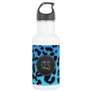 Electric Blue Leopard Print; Chalkboard look Water Bottle