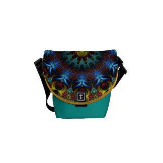 Electric Blue Mandala Lace Rickshaw Mini Zero Courier Bag