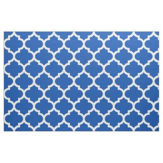Electric Blue Moroccan Quatrefoil Trellis Fabric