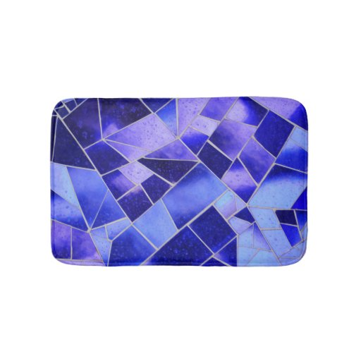 Electric Blue Mosaic Bathroom Mat Zazzle