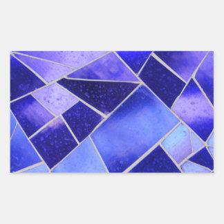 Electric blue mosaic rectangular sticker