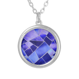 Electric blue mosaic silver plated necklace