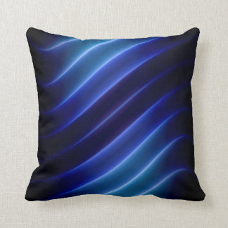 electric blue neon stripes modern throw pillow