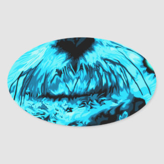 Electric Blue Painted Sea Otter art Oval Sticker