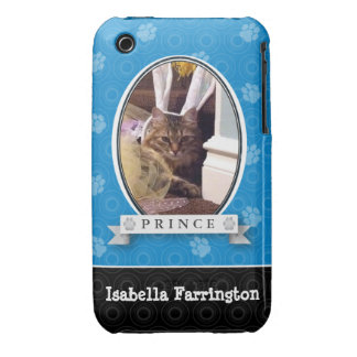 Electric Blue Paw Print iPhone 3 Cover