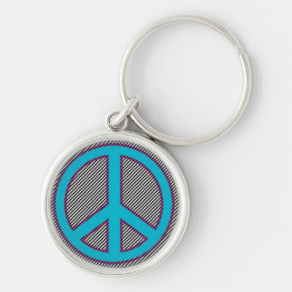 Electric Blue PEace Sign on Tight Stripes.jpg Silver-Colored Round Keychain