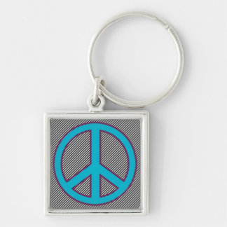 Electric Blue PEace Sign on Tight Stripes.jpg Silver-Colored Square Keychain