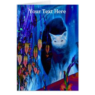 Electric Blue Siamese Cat Animal Art Card