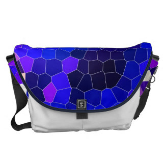 Electric blue stained glass courier bag