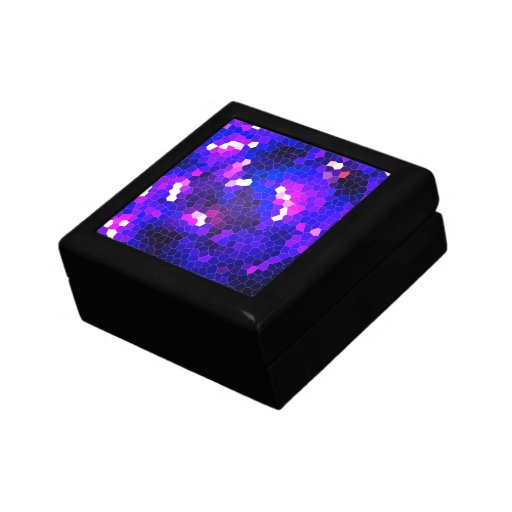 Electric blue stained glass jewelry box