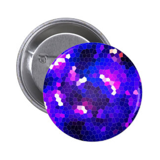 Electric blue stained glass pinback button