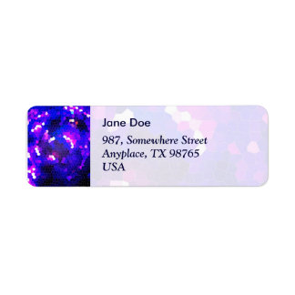 Electric blue stained glass return address label