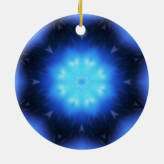 Electric Blue Star Double-Sided Ceramic Round Christmas Ornament