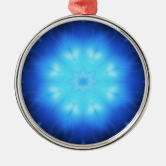 Electric Blue Star Round Metal Christmas Ornament