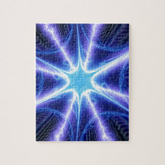 Electric Blue Techno Spider Web Jigsaw Puzzle