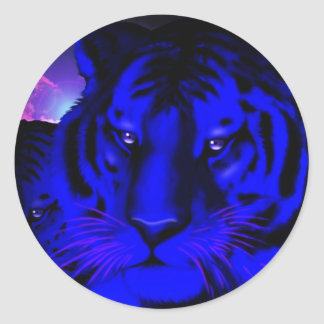Electric Blue Tiger Classic Round Sticker