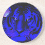 Electric Blue Tiger Drink Coaster