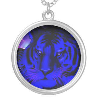 Electric Blue Tiger Silver Plated Necklace