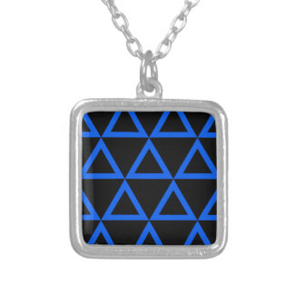 Electric Blue Triangle Square Pendant Necklace