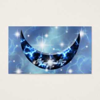 Electric Blue Upright Crescent Business Card